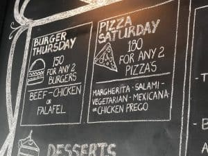burger and pizza specials